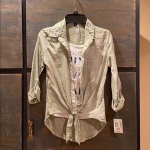 Girls long sleeve button down with attached tank.